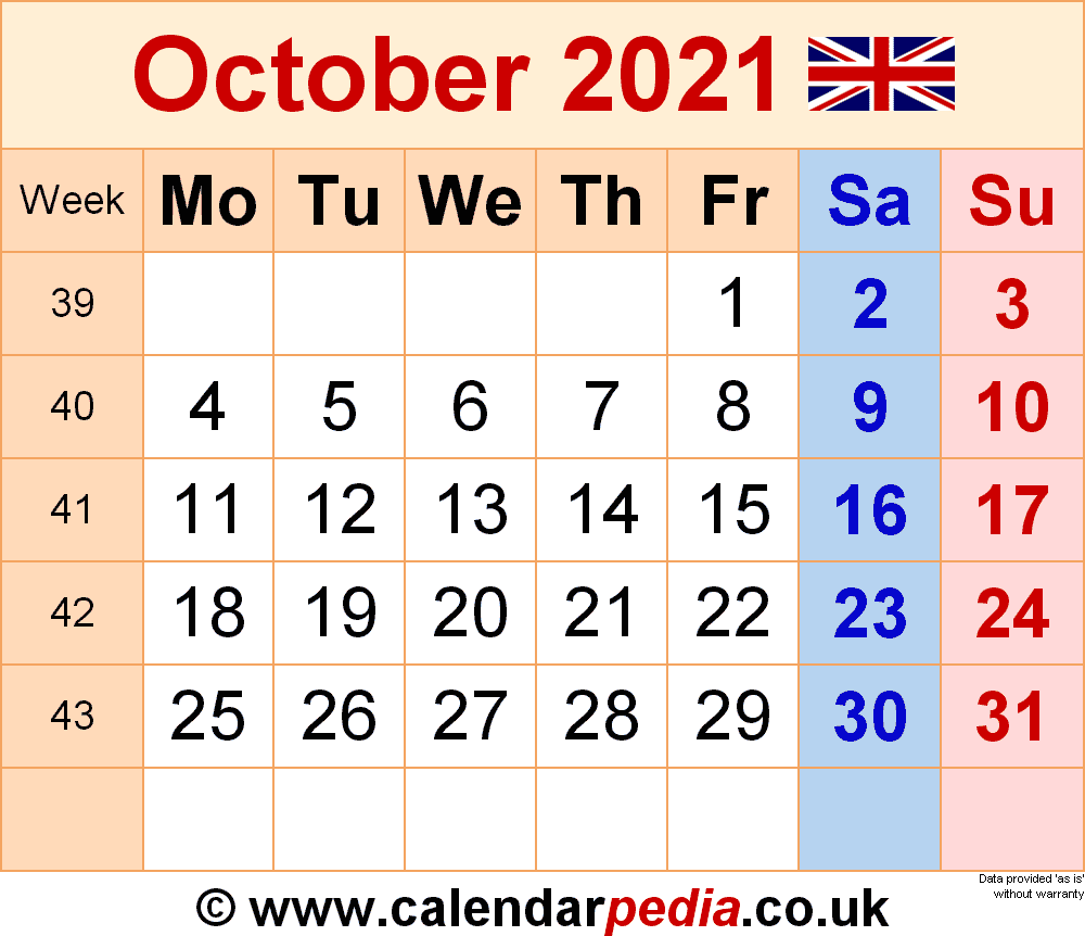 Calendar October 2021 UK With Excel Word And PDF Templates