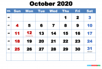 Free Printable October 2020 Calendar With Holidays Free