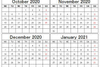 October 2020 To January 2021 Calendar Free Four Month